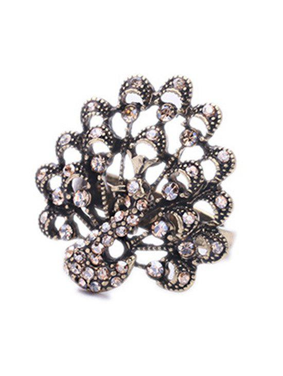 Chic Rhinestone Peacock Shape Ring For Women - CHAMPAGNE