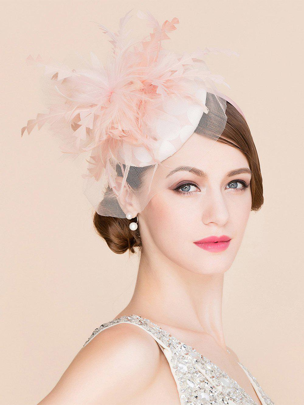 Plume élégante dentelle Fascinator Bandeau Noce Banquet Pillbox Hat - Rose Pâle