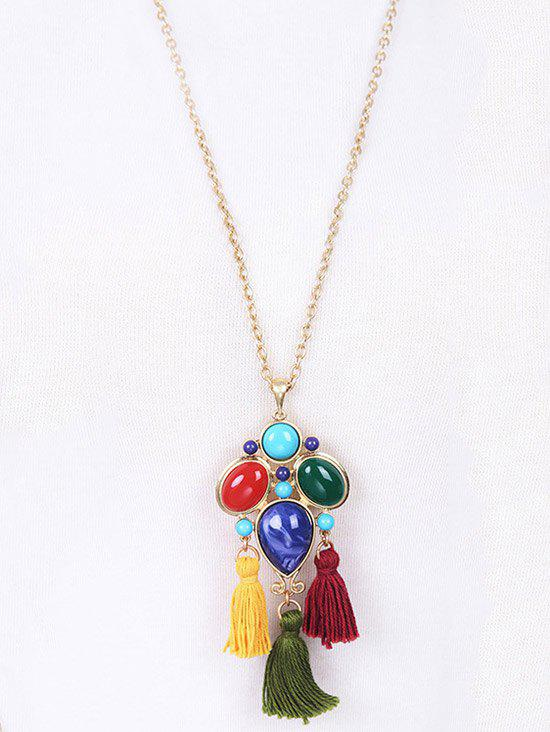 Tassel Faux Gem Pendant Necklace - GOLDEN