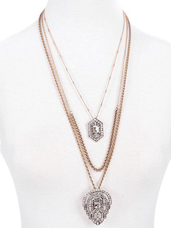 Multilayered Rhinestone Water Drop Pendant Necklace - GOLDEN