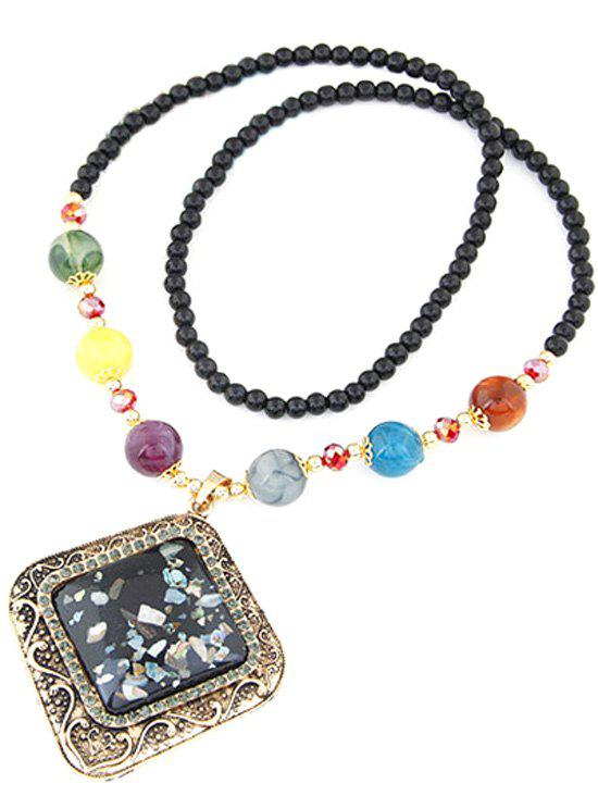 Beaded Faux Gem Geometric Necklace - BLACK