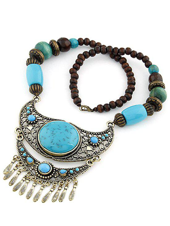 Bohemia Ethnic Faux Turquoise Beaded Pendant Necklace - LAKE BLUE