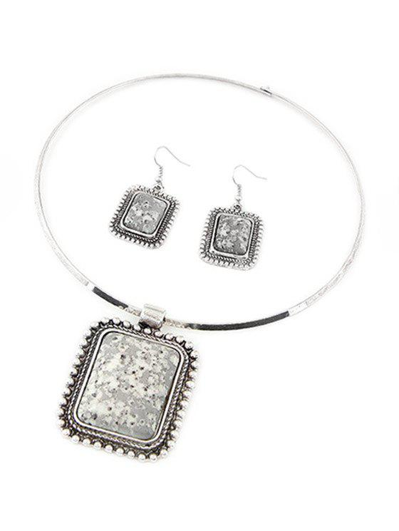 A Suit of Retro Rectangle Turquoise Necklace and Earrings For Women - GRAY