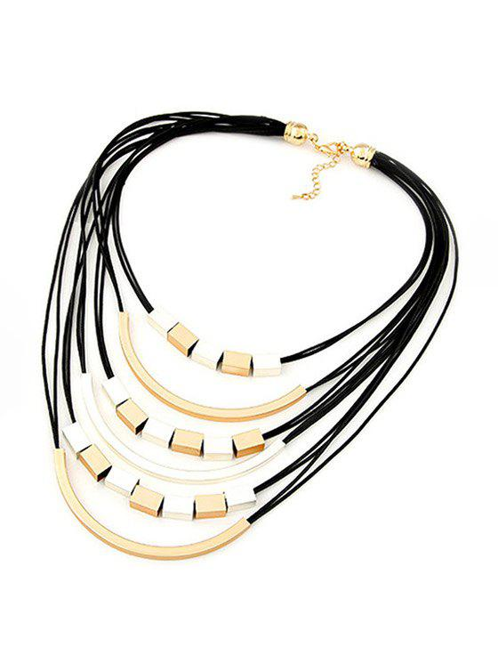 Punk Metal Decorated Multilayered Necklace - BLACK