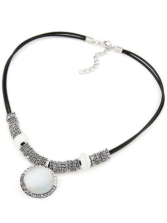 Alloy Faux Gem Double-Deck Necklace - BLACK