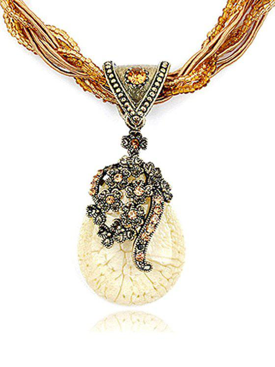 Bohemia Faux Crystal Water Drop Flower Pendant Necklace - WHITE