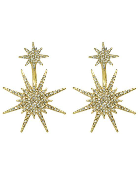 Pair of Star Rhinestoned Shape Earrings - GOLDEN