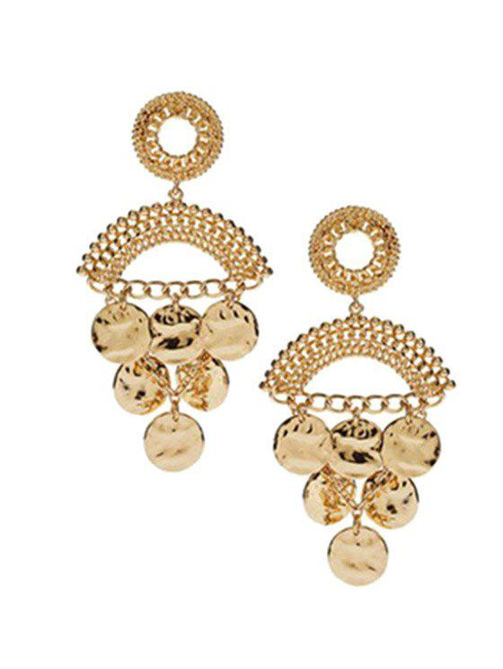 Pair of Round Piece Tassel Earrings - GOLDEN