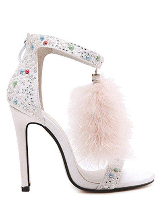 Party Faux Fur and Colorful Beads Design Sandals For Women - WHITE 37