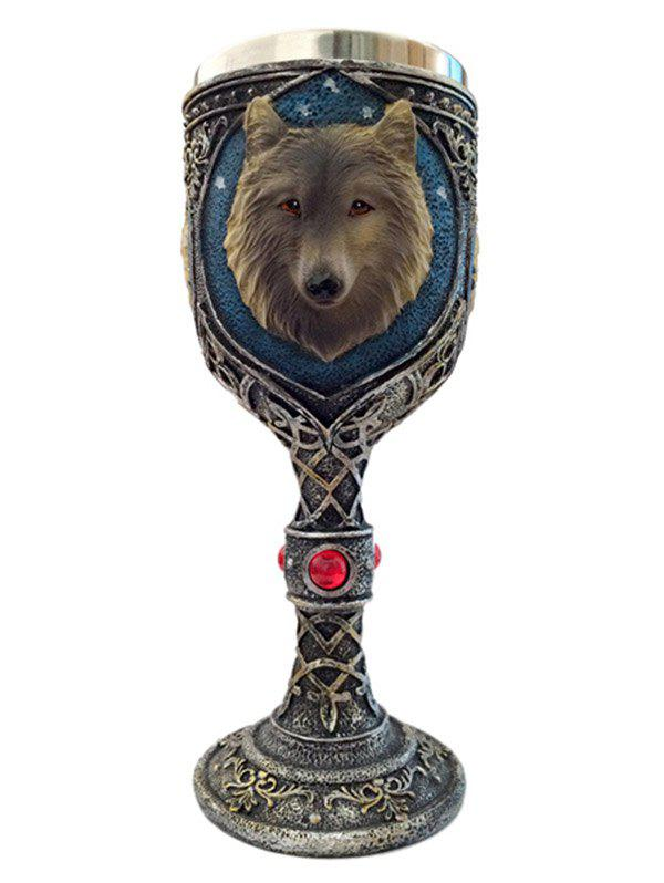 Drinkware Wolf Head Floral Decorative Pattern Goblet - COPPER COLOR