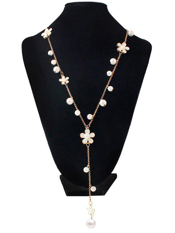 Faux Pearl Floral Beaded Sweater Chain - WHITE