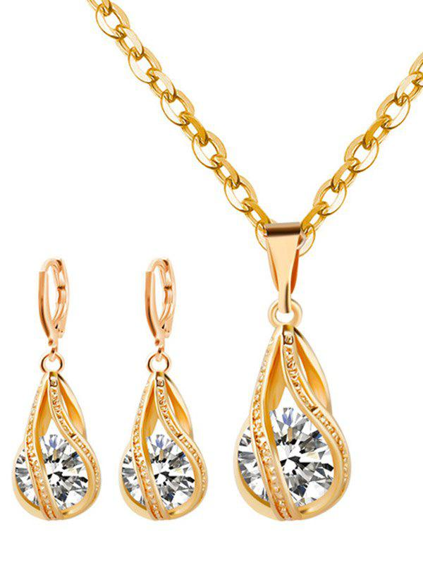 Rhinestoned Water Drop Wedding Jewelry Set rhinestoned hollowed wedding jewelry set