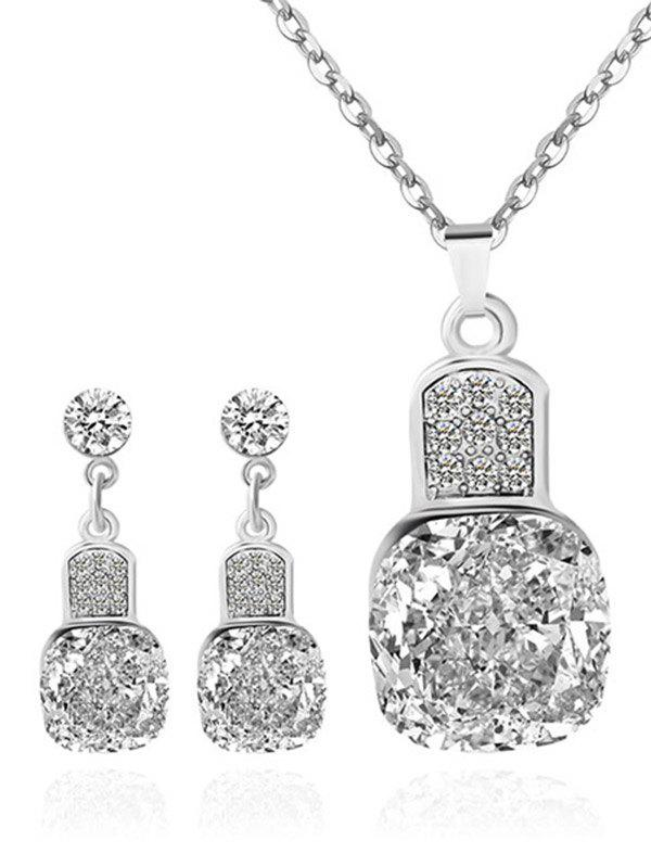 Rhinestoned Geometric Wedding Jewelry Set - SILVER