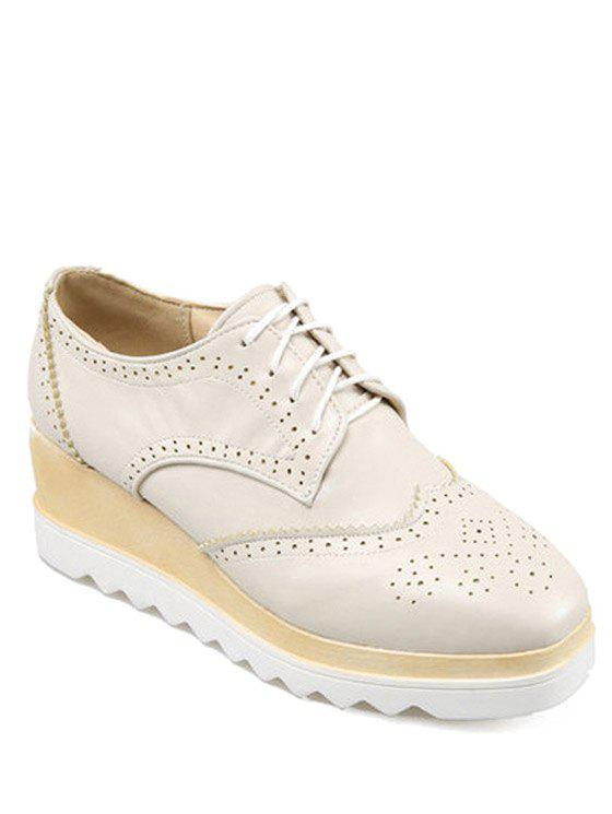 Preppy Engraving and Square Toe Design Platform Shoes For Women - OFF WHITE 38
