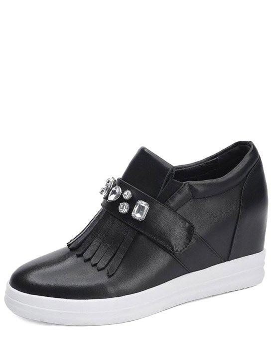 Casual Rhinestone and Fringe Design Wedge Shoes For Women - BLACK 35