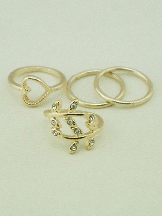A Suit of Heart Leaf Alloy Rings - GOLDEN ONE-SIZE
