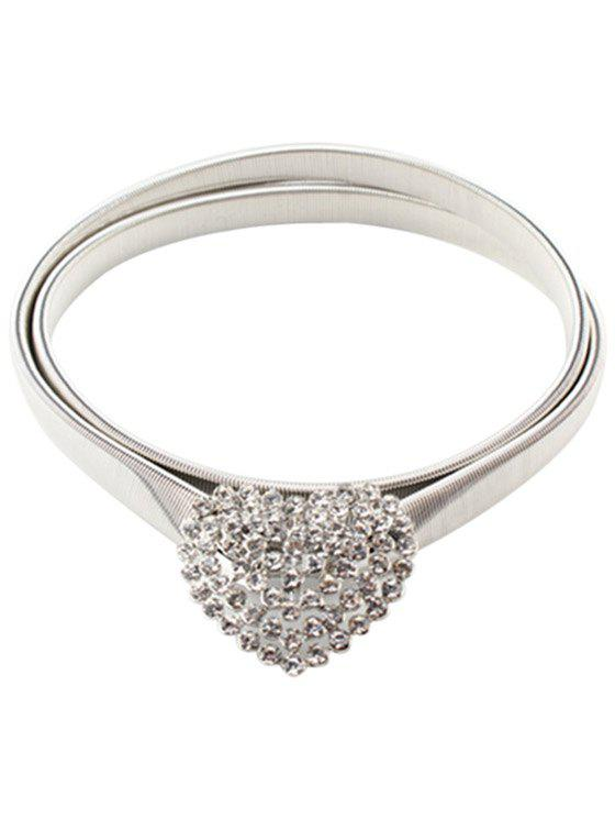 Stylish Heart Shape Elastic Waistband For Women - SILVER