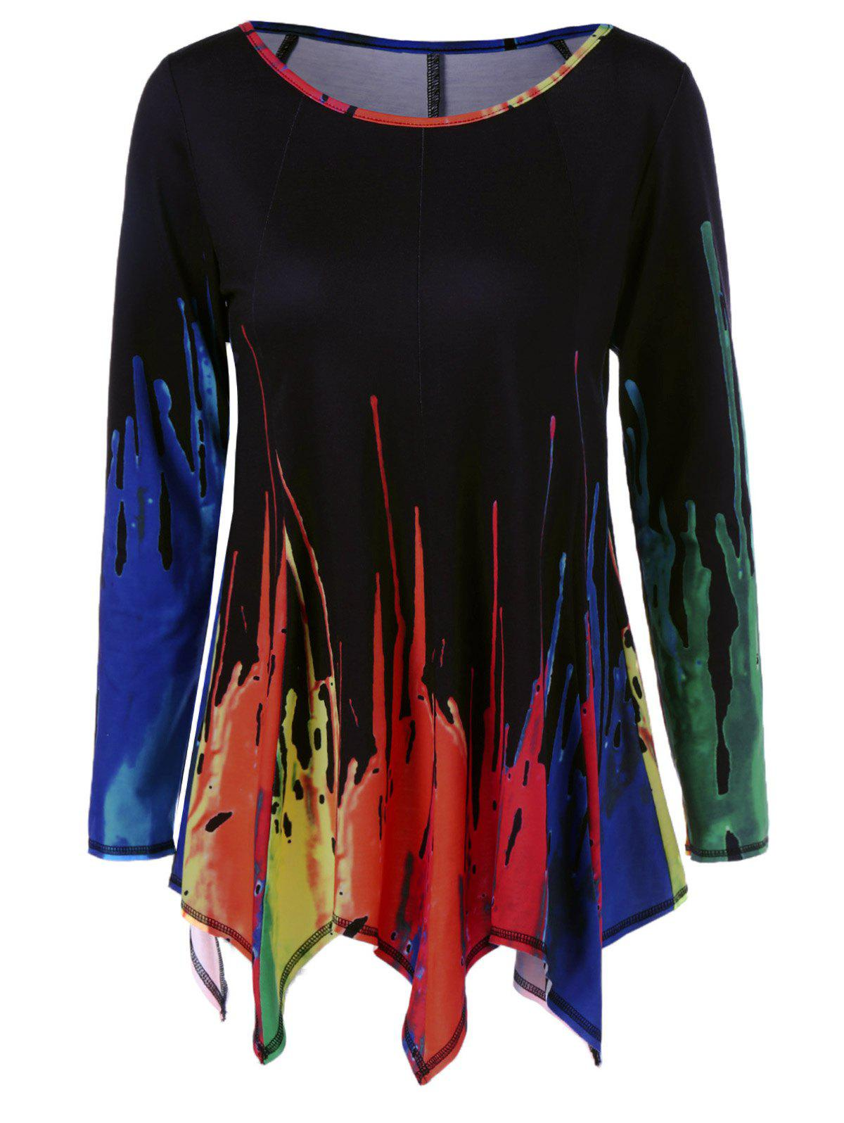 Splatter Paint Handkerchief Tunic T-Shirt - COLORMIX 2XL