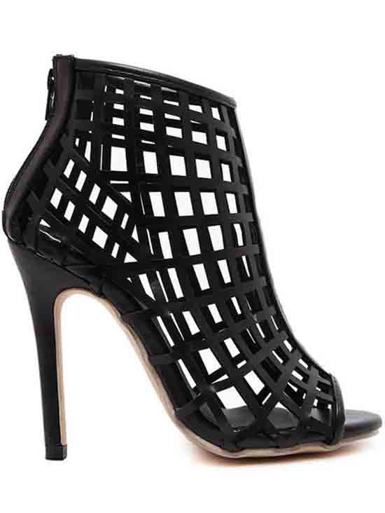 Sexy Hollow Out and Stiletto Heel Design Peep Toe Shoes For Women - BLACK 35