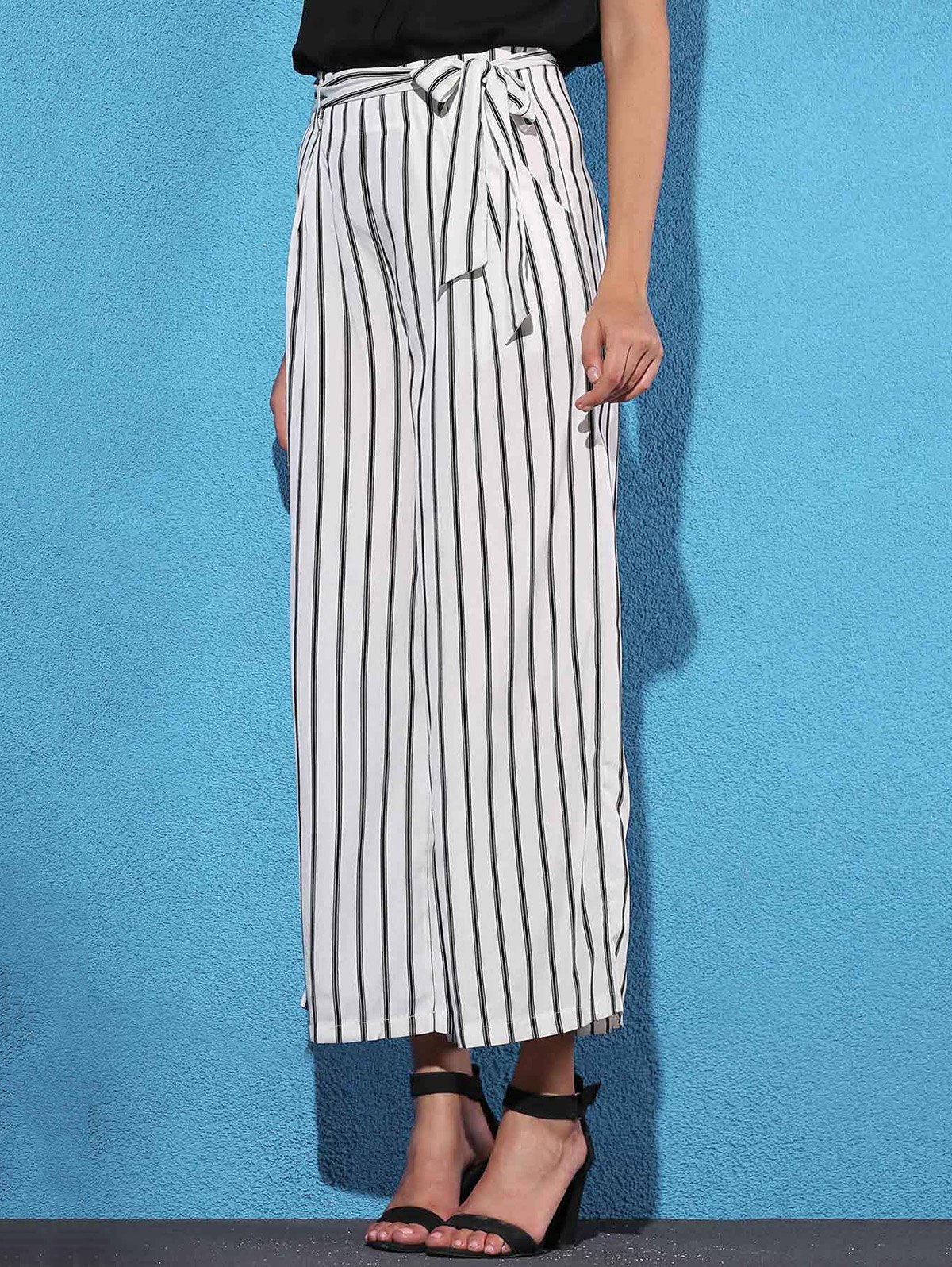 High Waist Striped Wide Leg Women's Pants - WHITE L