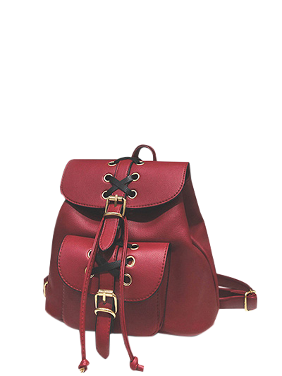Buckles Criss-Cross Eyelet PU Leather Backpack - RED