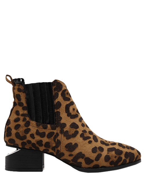 Splicing Stitching Leopard Print Ankle Boots - LEOPARD 38