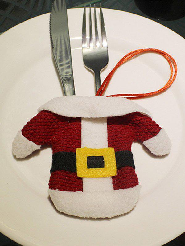 Christmas Santa Clothes Knives and Forks Bag Table Decoration - RED/WHITE