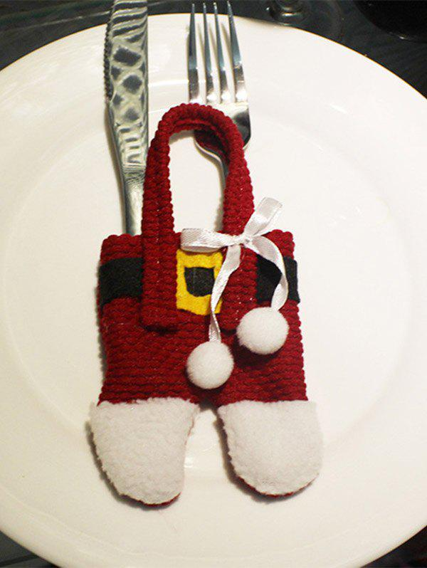 Christmas Santa Pants Knives and Forks Bag Table Decoration - RED/WHITE