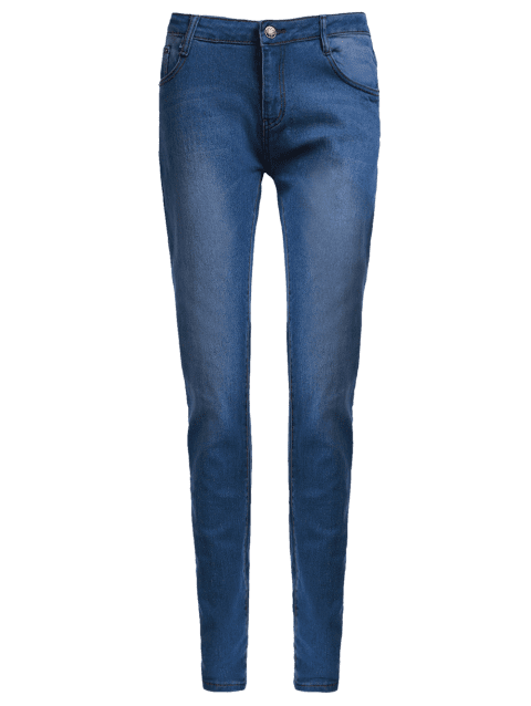 Women's High-Waisted Skinny Pencil Jeans - BLUE M