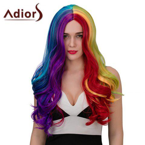 Adiors Hair Long Middle Part Wavy Highlights Synthetic Cosplay Wig - COLORMIX