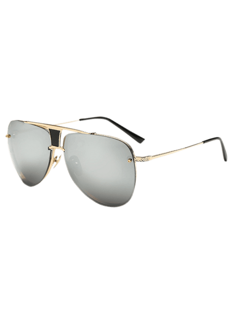 Streetwear Trapezoid Hollow Out Pilot Mirrored Sunglasses - GOLDEN