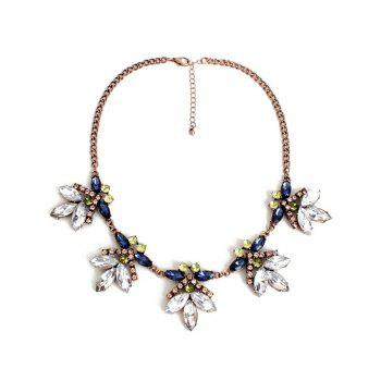 Retro Floral Faux Crystal Necklace