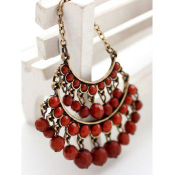 Pair of Multilayered Faux Gem Earrings - RED