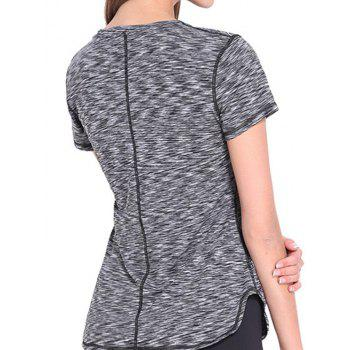 Trendy Round Neck Short Sleeves Candy Color Sport Women's Tee - GRAY XL