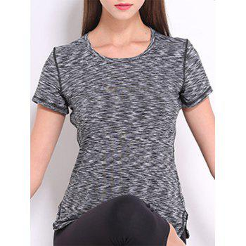 Trendy Round Neck Short Sleeves Candy Color Sport Women's Tee - GRAY GRAY