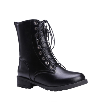 Stylish Black and Lace-Up Design Women's Combat Boots