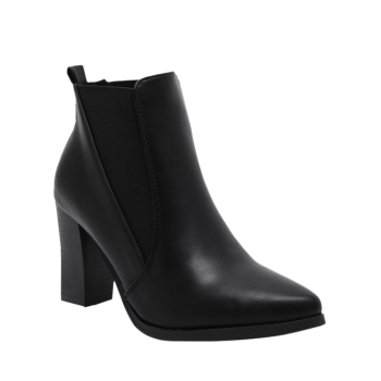 Elastic Chunky Heel Pointed Toe Ankle Boots