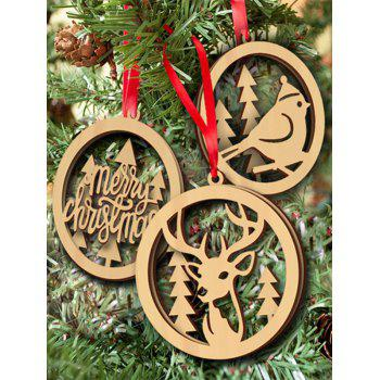 Christmas Tree Decoration 3PCS Wooden Hollow Out Hangers