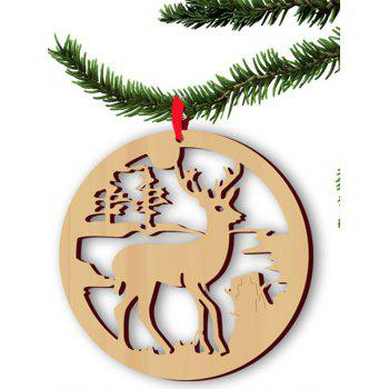 Christmas Tree Decoration 5PCS Wooden Hollow Out Deer Hangers - WOOD WOOD