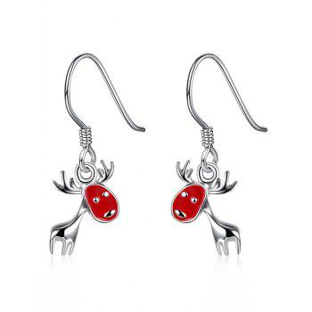 Enamel Christmas Deer Drop Earrings