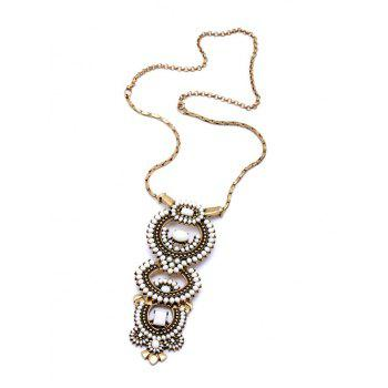 Vintage Bead Decorated Necklace For Women - GOLDEN