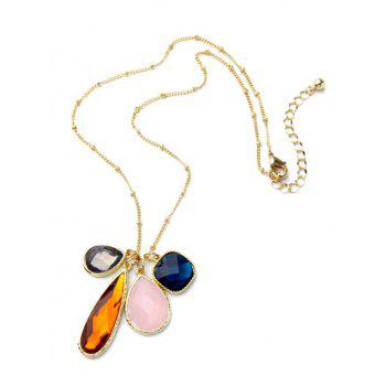 Geometric Faux Gem Pendant Necklace - GOLDEN