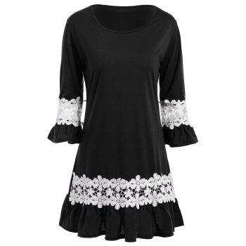 Lace Crochet Flounce Flare Sleeve Dress