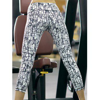 Sports High-Waisted Slimming Printed Women's Gym Cropped Pants - WHITE S