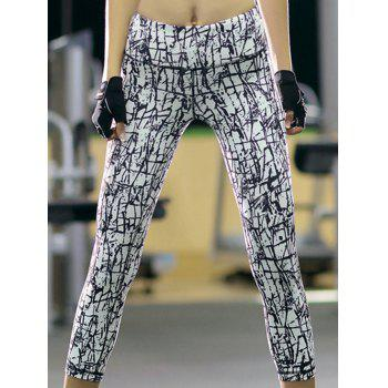 Sports High-Waisted Slimming Printed Women's Gym Cropped Pants