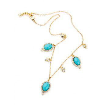 Retro Oval Faux Turquoise Necklace - GOLDEN