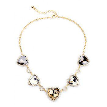 Stylish Heart Faux Crystal Necklace For Women