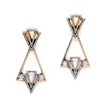 Pair of Rhinestone Hollow Out Triangle Earrings - GOLDEN