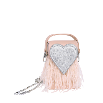 Color Block Heart Pattern Fringe Handbag -  PINK