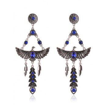 Pair of Eagle Faux Crystal Decorated Earrings